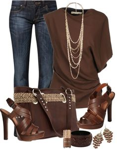 Brown and denim outfit