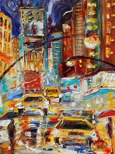 Original oil painting Abstract New York City Rain by Karensfineart