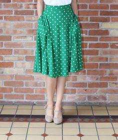 Green Polka Dot Skirt   themodestmomblog.com