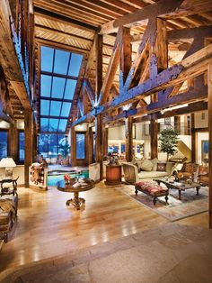 Love the rafters!! stunning  mountain home in Aspen.