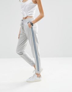 Buy it now. ASOS Joggers with Contrast Side Stripe - Grey marl. Trousers by ASOS Collection Soft-touch sweat Drawstring waist Slim fit - cut close to the body Machine wash 64% Cotton, 36% Polyester Our model wears a UK 8/EU 36/US 4 and is 175 cm/5'9 tall , pantalónjogger, joggers, jogging, joggingbásico, joggingculotte, joggings, jog, jogger. Gray Asos  joggers  for woman.