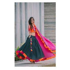 """Rangeeli"" is an amalgamation of modernity with traditional aspects. This chaniya choli is the amalgamation of the pure traditional colours. Muse Photography Jewellery MUA ""Rangeeli"" is an amalgamation of modernity with traditional aspects. Lehenga Choli Designs, Chaniya Choli Designer, Garba Chaniya Choli, Garba Dress, Choli Blouse Design, Navratri Dress, Lehnga Dress, Saree Blouse Designs, Chaniya Choli For Kids"