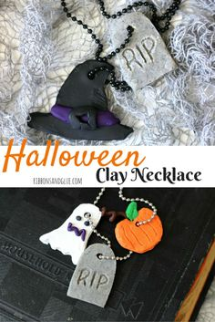 Halloween Clay Necklace made with Sculpey Clay. All you need is a block of clay, a few sculpting tools and let your imagination run wild!