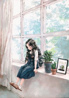 If my legs were long enough to reach the ground when I sit on the windowsill, if my feet were big enough to fit the slippers, if I was tall enough to reach the shelf without making a tiptoe, would I be a grown-up just as I wished for? Photo Images, Forest Girl, Illustration Girl, Anime Art Girl, Aesthetic Art, Belle Photo, Cute Drawings, Cute Wallpapers, Cute Art