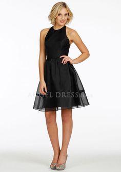 Knee Length Organza & Satin Halter A line Sleeveless Natural Waist Bridesmaid Gown