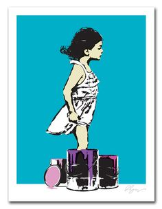 """""""Getting Her Feet Wet"""" by Rene Gagnon. 18″ x 24″ 3-color Screenprint. Ed of 20 S/N."""