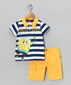 957ece06b Children's Apparel Network Blue & Yellow SpongeBob Polo & Cargo Shorts -  Toddler