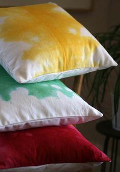 SALE Green Watercolors Pillow by Hettle on Etsy