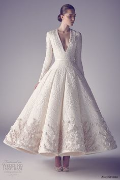 ashi studio couture 2015 long sleeves v neckline intricate embroideries flounce tea length wedding dress front view
