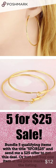 "🎉5/$25🎉 Gold Hoop Earrings 14K Filled 14K Gold Filled Hoop Earrings Approx. 2"" All jewelry comes in organza gift bag.  See my other listings with 5 for $25 SALE and save on a bundle! Lots of clothes, bags, jewelry and new boutique items. Great for gift giving. I love accepting offers. Boutique Jewelry Earrings"