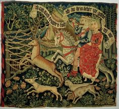 """Renaissance Period: Tapestry: I have shown this image to show a """"Motif"""" commonly used in renaissance interiors Medieval Horse, Medieval Art, History Images, Art History, Renaissance Kunst, Medieval Tapestry, Late Middle Ages, Tapestry Weaving, Illuminated Manuscript"""
