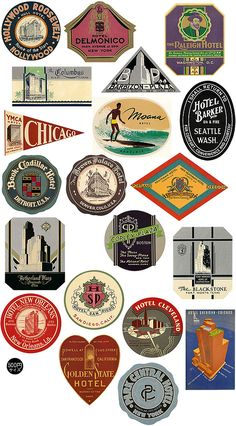 looking to jazz up our sponsor logos with retro frames Vintage Packaging, Vintage Labels, Retro Vintage, Vintage Luggage Tags, Vintage Kitchen, Luggage Stickers, Luggage Labels, Suitcase Stickers, Vintage Graphic Design