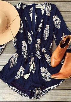 Dark Blue Hippie Vamped Romper
