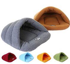 Gullor invierno cálido cómodo perro mascota conejo gato cojín medio cubierto cama saco de dormir - gris (M)