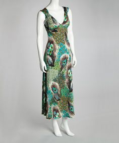 Take a look at this Aqua & Gray Peacock Open-Back Maxi Dress by Modern Touch on #zulily today!