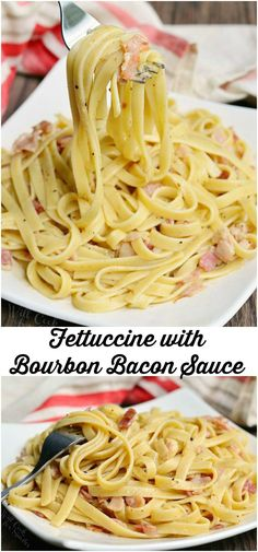 Fettuccine with Bourbon Bacon Sauce from | willcookforsmiles.com #pasta #bacon