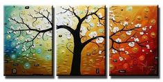 Lucky Tree Hand Painted Abstract Wall Canvas Art Sets Painting for Home Decoration Oil Painting Modern Art Large Canvas Wall Art 3 Piece Canvas Art Unstretch and No Frame Tree Of Life Painting, Simple Oil Painting, Large Painting, Oil Painting Abstract, Hand Painting Art, Abstract Art, Painting Canvas, Online Painting, Painting Videos