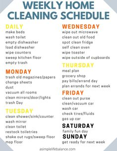 Weekly House Cleaning, House Cleaning Checklist, Household Cleaning Tips, Diy Cleaning Products, Cleaning Solutions, Weekly Cleaning Schedule Printable, Apartment Cleaning Schedule, Spring Cleaning Schedules, New House Checklist