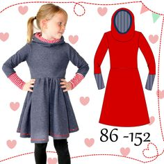 AnniNanni mini Kuschelkleid Schnittmuster und Fotoanleitung AnniNanni mini cuddly dress sewing pattern and photo tutorial – sewing instructions at Makerist Sewing Projects For Kids, Sewing For Kids, Smock Dress, Tee Dress, Dress Sewing, Kids Patterns, Sewing Patterns, Sweat Dress, Little Ballerina