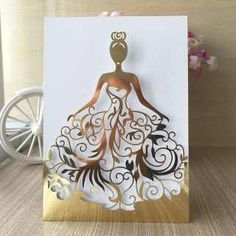 Laser Cut Beautiful Dress Girl Birthday Paty Wedding Invitation Cards Pretty Greeting Card photo ideas from Invitation Express Quince Invitations, Wedding Invitation Cards, Wedding Cards, Print Invitations, Invitation Paper, Diy And Crafts, Paper Crafts, Dress Card, Quinceanera Party