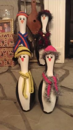 My penguins -- painted bowling pins
