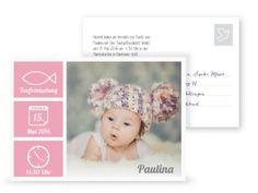 pink bunte Taufeinladung, Postkarte, süß, Teddymütze