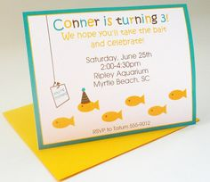 Under the Sea Birthday Invitations Fish by DelightfullyNoted, $18.00