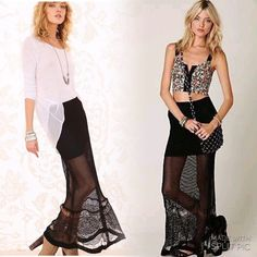 """2*HP. Free People Mermaid Maxi Skirt Channel your inner mermaid, snow vixen, festival flirt! Black spun fishtail maxi skirt with beautiful detail. Partially lined. Waist 14"""" (stretchy), length ~45"""". Bought brand new, never worn, no tags. Free People Skirts Maxi"""