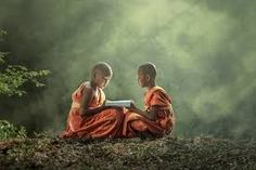 young Buddhist monks sharing a text