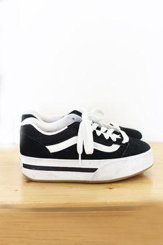 black platform canvas Vintage Vans sneakers