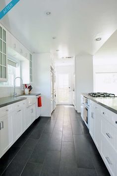 Love these floors...look like tiles that look like wood - so much easier to clean!