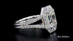 Emerald Cut Diamond with a Brilliant Blaze® Diamond Halo by Bez Ambar A stunning diamond engagement ring by master jewelry designer, Bez Ambar. At Bez Ambar, our designs are custom made to order to th Deco Engagement Ring, Rose Gold Engagement Ring, Diamond Wedding Bands, Wedding Rings, 10 Carat Diamond Ring, Halo Diamond, Diamond Cuts, Uncut Diamond, Ring Set