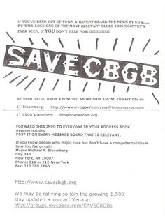 """""""Save CBGB"""" Flyer From New York's World Famous CBGB's Last Days in Business RARE"""