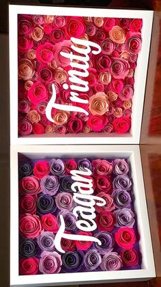 Paper Flower Patterns, Paper Flowers Craft, Easy Paper Crafts, Diy Crafts For Gifts, Flower Shadow Box, Diy Shadow Box, How To Shadow Box, Box Frame Art, Box Frames