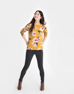 Harbour print Caramel Floral Jersey Top  | Joules UK Fall Outfits, Cute Outfits, Joules Uk, Work Wardrobe, Caramel, Feminine, My Style, Yellow, Floral