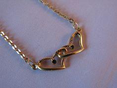 Regalo di Natale di oro doppio cuore collana  di VintageJewelries