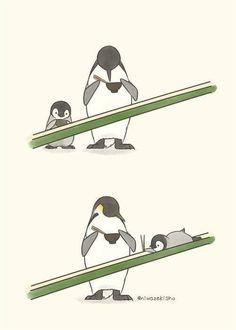 Cute Animal Drawings, Kawaii Drawings, Cute Drawings, Funny Phone Wallpaper, Penguin Art, Cartoon Jokes, Baby Penguins, Cute Cartoon Wallpapers, Cute Chibi