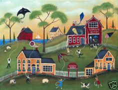 KITES COW SHEEP BARN FARM FOLK ART PRINT 12x16