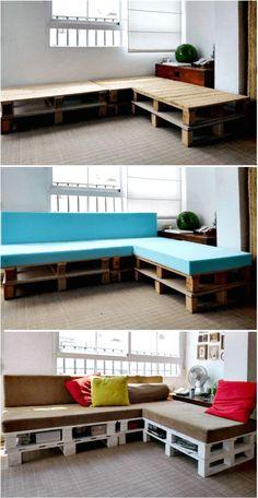 Pallet Sofa with Underneath Storage Shelf - Pallet Sofa - 21 DIY Pallet Sofa Plans - Page 2 of 10 - DIY & Crafts