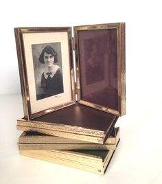 vintage small gold metal bifold photo frames - set of 4 by forrestinavintage, $30.00