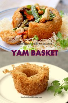 Chinese New Year Dinner: Yam Basket/Fatt Putt ? : Chinese New Year Dinner: Yam Basket/Fatt Putt ? Crispy on the outside and melt-in-the-mouth on the inside. This yam basket that is filled to the brim signifies the abundance of fortune. Chinese Cake, Chinese Food, Chinese Yam Recipe, Chinese Dinner, Chinese New Year Dishes, Chinese New Year Cookies, Chinese New Year Desserts, New Years Dinner, New Year's Food