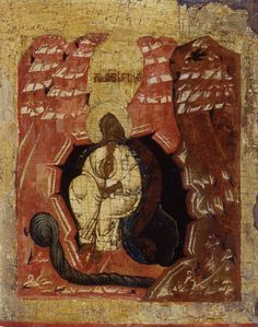 Russian Artist century) Icon of Elijah fed by a Crow oil on panel; x 21 cm. Religious Icons, Religious Art, African Americans, Native Americans, St Clare's, Revelation 2, Biblical Hebrew, Tribe Of Judah, Russian Icons