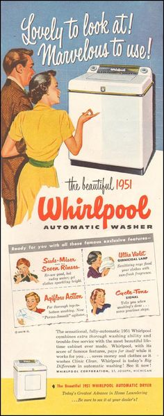 WHIRLPOOL AUTOMATIC WASHER LADIES' HOME JOURNAL 11/01/1950 p. 149
