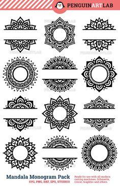 SVG Mandala Pack Svg Monogram svg and Split Mandala Cut Files for Cricut and Silhouette Manda. - SVG Mandala Pack Svg Monogram svg and Split Mandala Cut Files for Cricut and Silhouette Mandala – - Mandala Art Lesson, Mandala Drawing, Silhouette Cameo Projects, Henna Designs, Tattoo Designs, Svg Cuts, Clipart, Doodle Art, Icon Set
