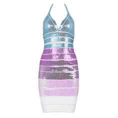 """Gela"" Multi Pink Turquoise Purple White Sequin Color Block Bandage Dress by GIRL CRUSH BOUTIQUE"