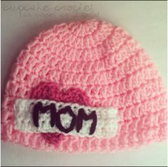 http://www.facebook.com/cupcakecrochet    MOM Tattoo hat starting at $15, can be made in any color or size.      Like us on Facebook, for a weekly chance to win a free custom crochet hat!     crochet crochet pattern handmade etsy facebook free giveaway contest newborn baby photography prop