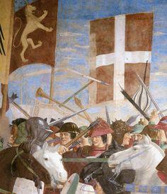 PIERO DELLA FRANCESCA - (1415 - 1492) - Battle between Heraclius and Chosroes (detail). Fresco. Basilica di San Francesco, Arezzo,Italy.