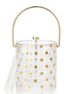 Kate Spade Gold Polka Dot Ice Bucket