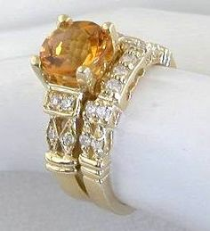 Citrine engagement ring and wedding band. #Capri #Jewelers #Arizona ~ www.caprijewelersaz.com  ♥
