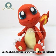 Charmander Cake Topper Tutorial can be found here :) - Das Charmander Cake Topper Tutorial finden Sie hier :] - Pokemon Torte, Pokemon Cake Topper, Fondant Cake Toppers, Pokemon Cakes, Charmander Pokemon, 3d Pokemon, Cake Topper Tutorial, Fondant Tutorial, Decors Pate A Sucre